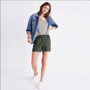 Madewell Pull On Olive Green Scalloped Shorts XS